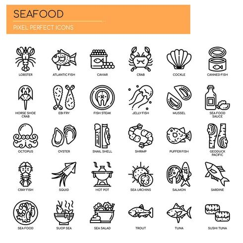 Seafood , Thin Line and Pixel Perfect Icons vector