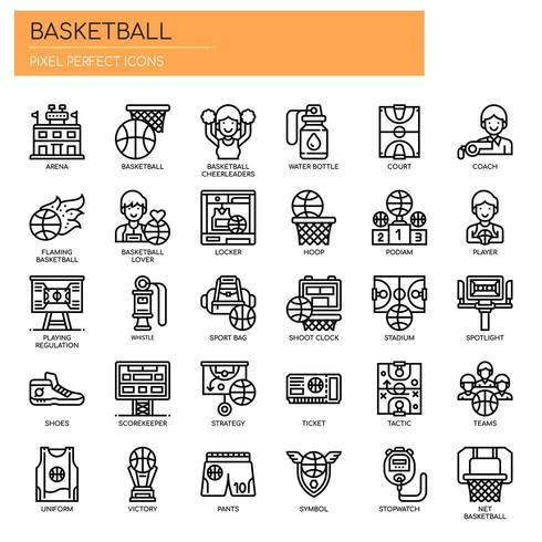 Elementos de basquete, linha fina e ícones perfeitos de Pixel
