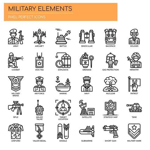 Militära element, tunn linje och perfekta ikoner för pixlar
