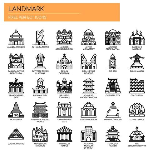 Landmark, Thin Line en Pixel Perfect Icons
