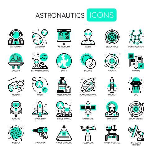 Astronautik tunn linje och perfekta pixlar ikoner vektor