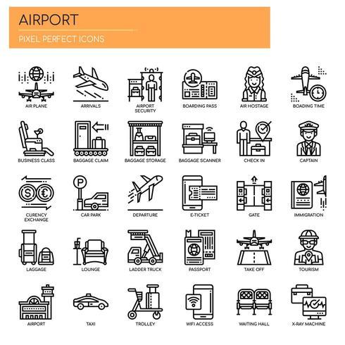Ícones perfeitos de aeroporto
