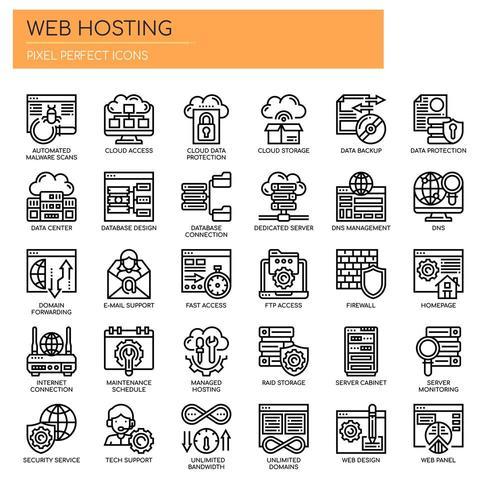 Icone di Web Hosting, Thin Line e Pixel Perfect