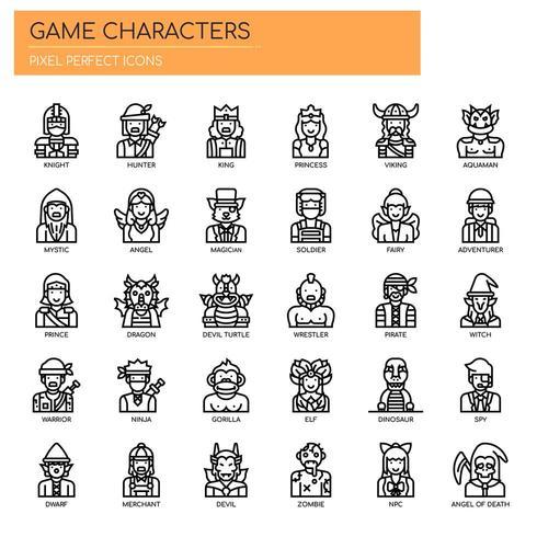 Gamekarakters, dunne lijn en pixel perfecte pictogrammen