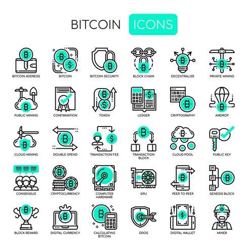Bitcoin-element, tunn linje och perfekta ikoner för pixlar