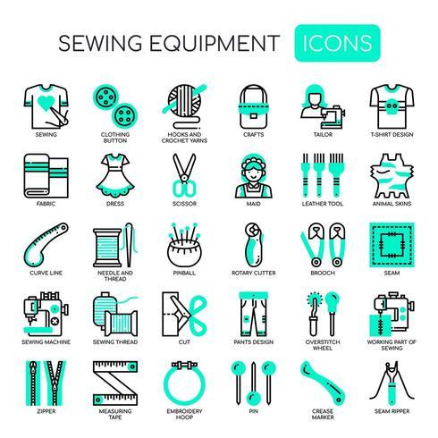 Elementos de costura, linha fina e ícones perfeitos de Pixel
