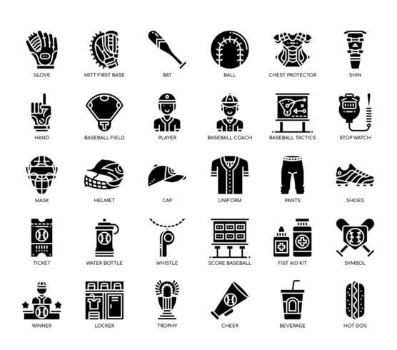 Éléments de base-ball, ligne fine et icônes parfaites de pixel