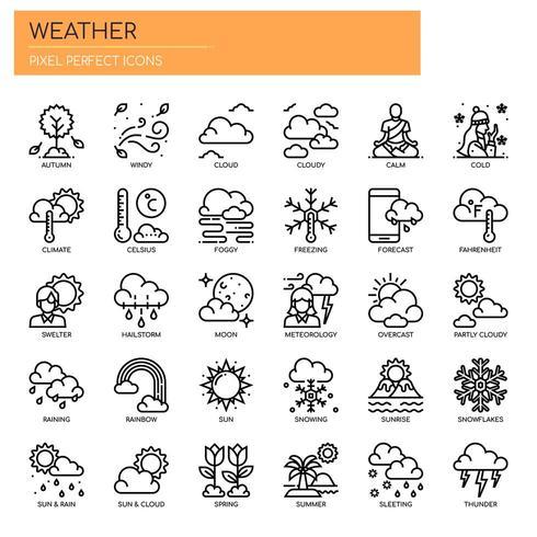 Wetter dünne Linie und Pixel Perfect Icons