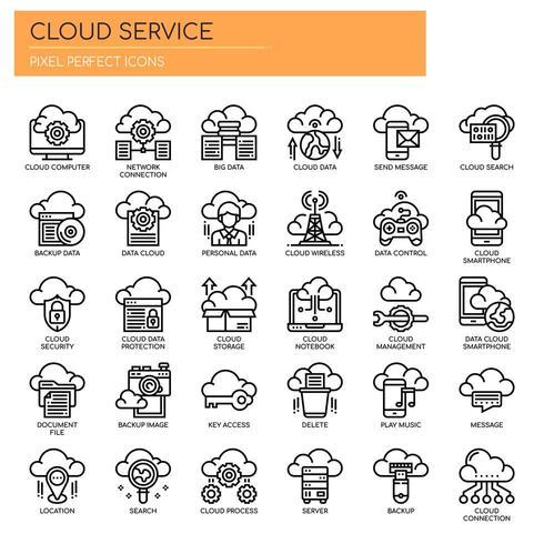 Cloud-Service, dünne Linie und Pixel Perfect Icons