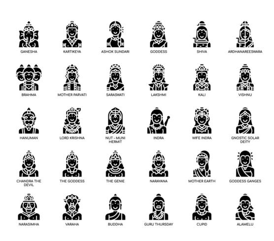 Hindu Gods , Thin Line and Pixel Perfect Icons vector