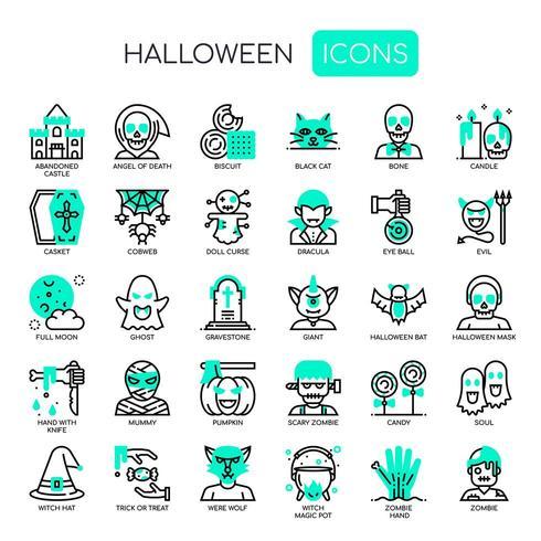 Elementos de Halloween, linha fina e ícones perfeitos de Pixel vetor