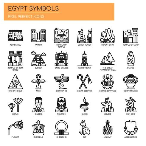 Ägypten-Symbole, dünne Linie und Pixel-perfekte Ikonen vektor