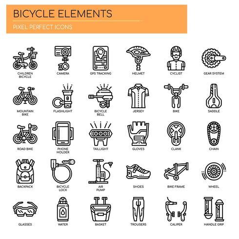 Fahrrad-Elemente, dünne Linie und Pixel Perfect Icons