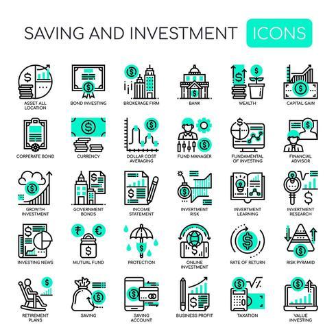 Risparmio e investimento, icone sottili e pixel perfetti