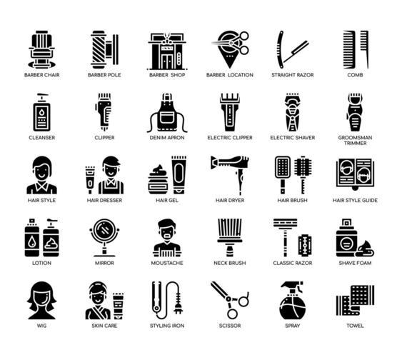 Barbiere, linea sottile e Pixel icone perfette