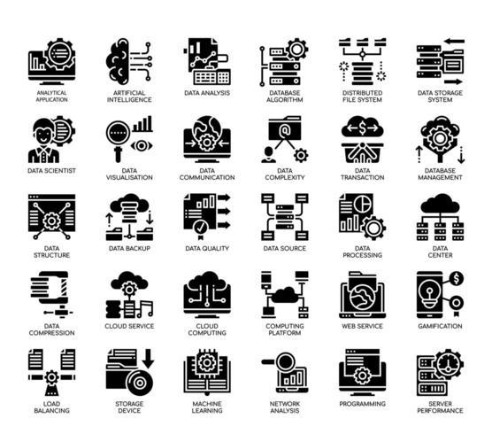 Icone perfette per big data, linee sottili e pixel