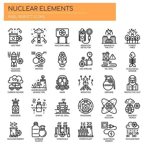 Nucleaire elementen, dunne lijn en pixel perfecte pictogrammen