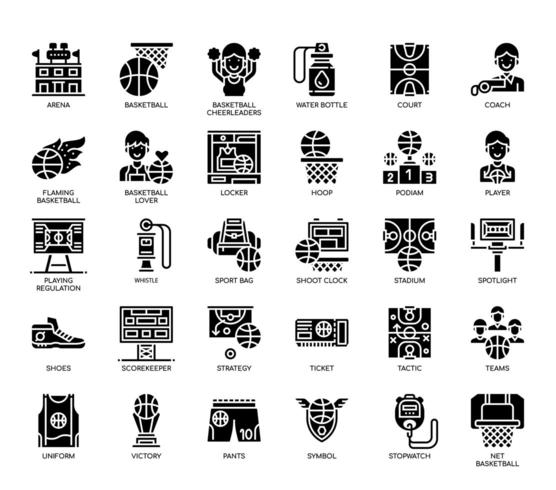 Elementi di pallacanestro, linea sottile e icone perfette Pixel