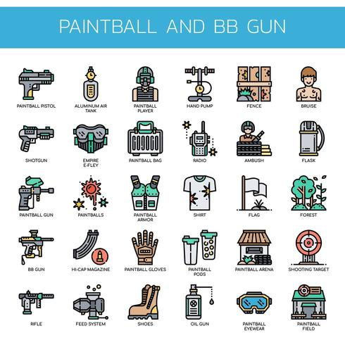 Paintball and BB Gun , Thin Line and Pixel Perfect Icons vector
