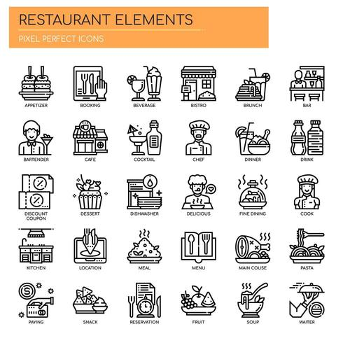 Restaurant Elements , Thin Line and Pixel Perfect Icons