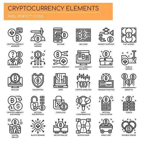 Cryptocurrency-element, tunna linjer och perfekta ikoner för pixlar
