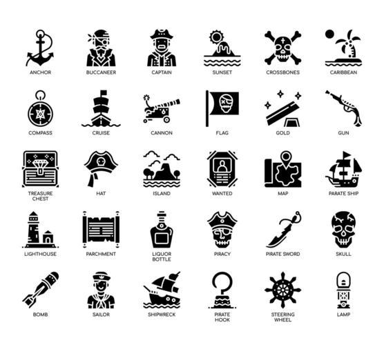 Elementi pirata, icone glifo