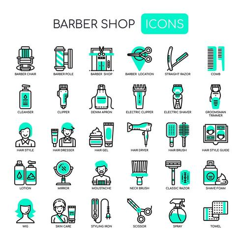 Barber Shop , Thin Line and Pixel Perfect Icons vector