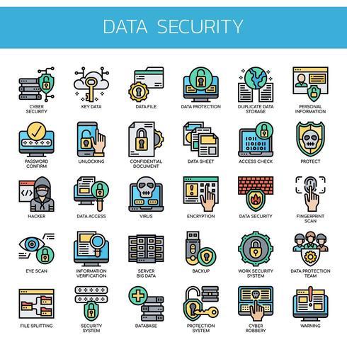 Sécurité des données, icônes fines et pixel parfait