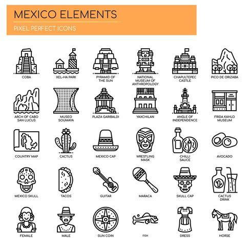 Mexiko-Elemente, dünne Linie und Pixel perfekte Symbole vektor
