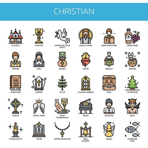 Christian Elements, Thin Line y Pixel Perfect Icons vector