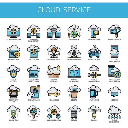 Service Cloud, Icônes Thin Line et Pixel Perfect vecteur
