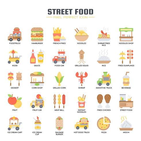 Comida callejera y camión de comida, línea delgada y Pixel Perfect Icons