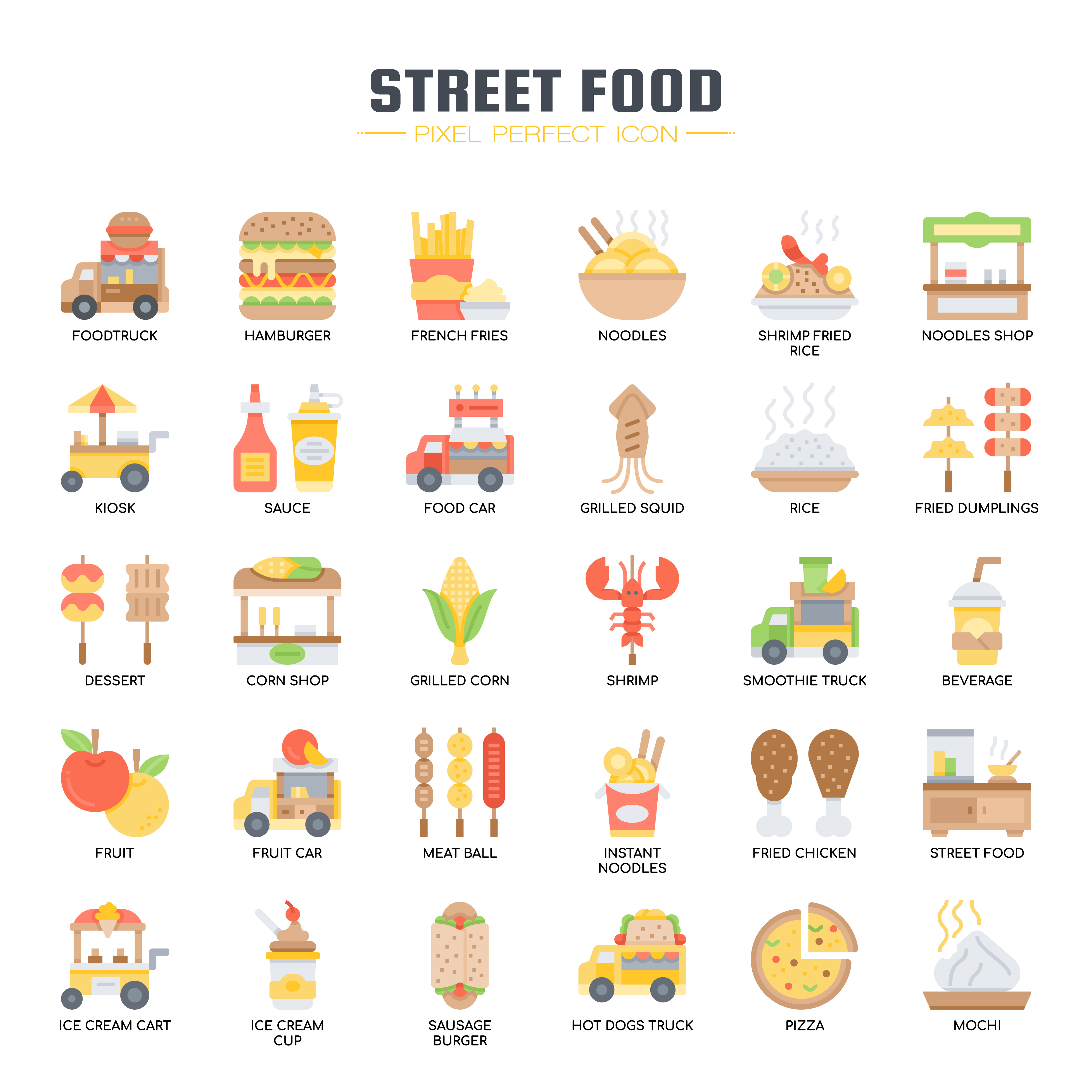 Street Food And Food Truck , Thin Line And Pixel Perfect
