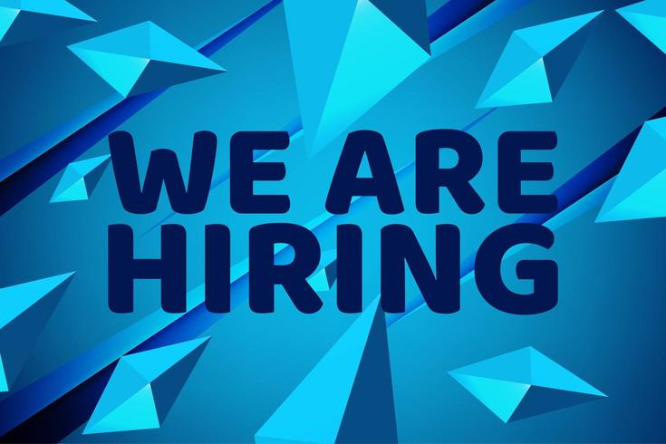 Neon Blue We are Hiring Banner  vector