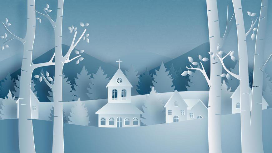 Paisagem da vila no campo de inverno em estilo de corte de papel