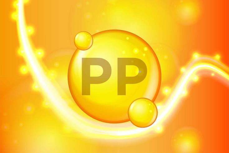 Vitamin PP gold shining pill capsule vector