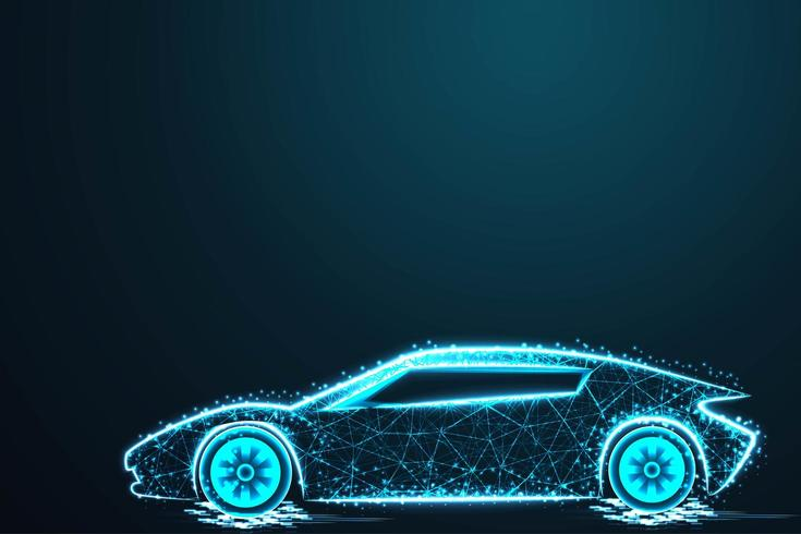 Sport car wire model with blue neon on dark background