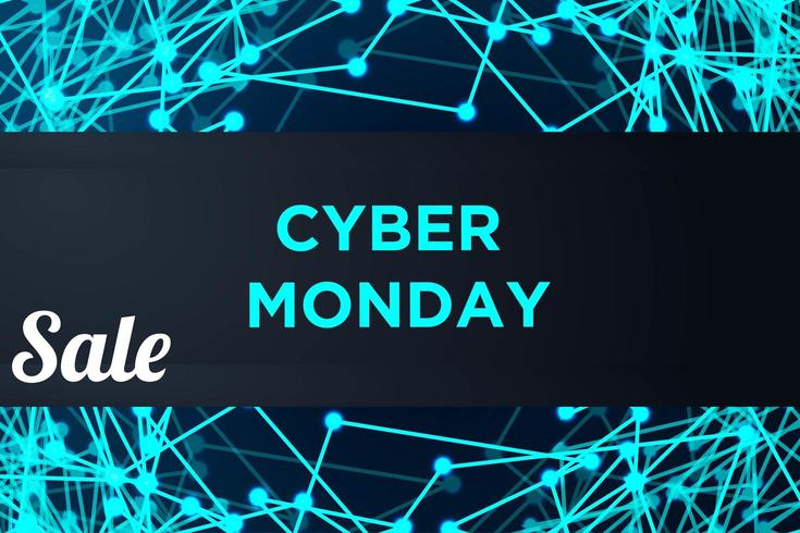 Cyber Monday Sale Low Poly Banner vector