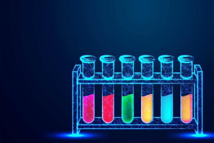 Tubos de laboratório coloridos em baixo poli vetor