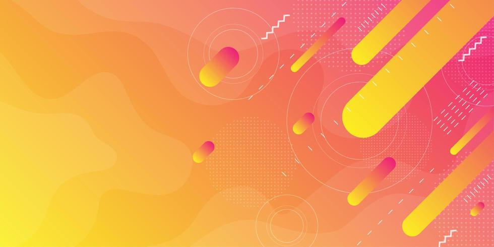 Gelb-orangeer und rosa flüssiger Hintergrund mit diagonalen Formen vektor