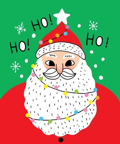 Cartoon cute Christmas Santa claus say ho ho ho