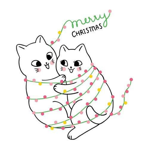 Dibujos animados lindo Navidad pareja gato abrazando vector
