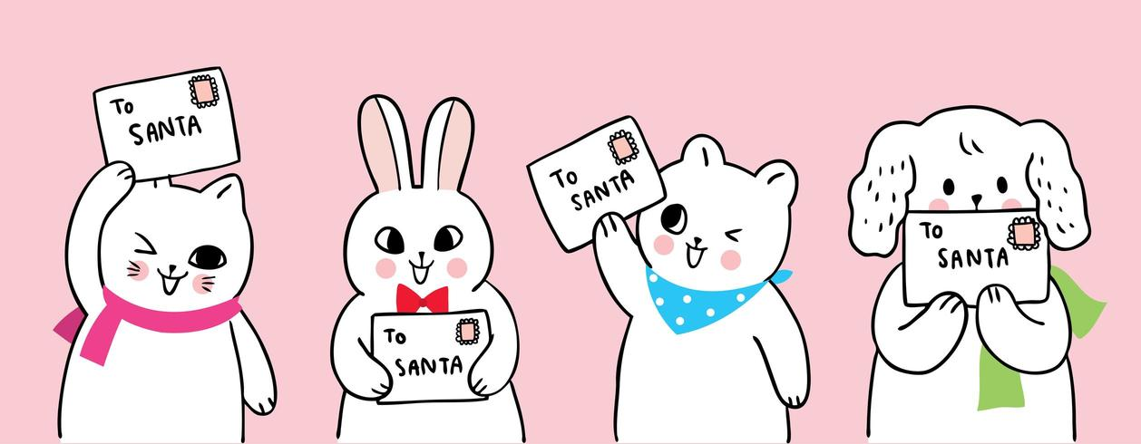 Desenhos animados bonitos animais de Natal e carta para o Papai Noel