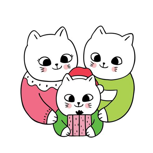 Cartoon cute Christmas Family cats and present
