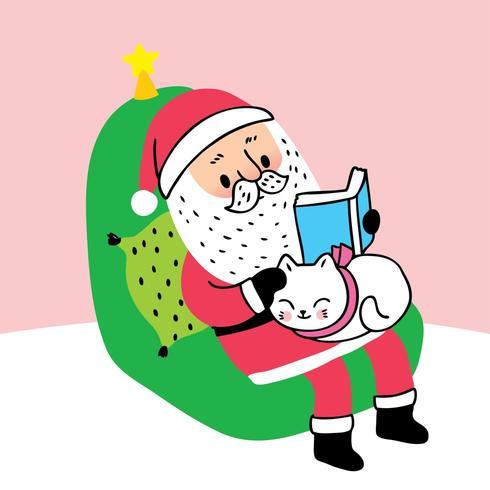 Santa claus reading book and sleeping cat