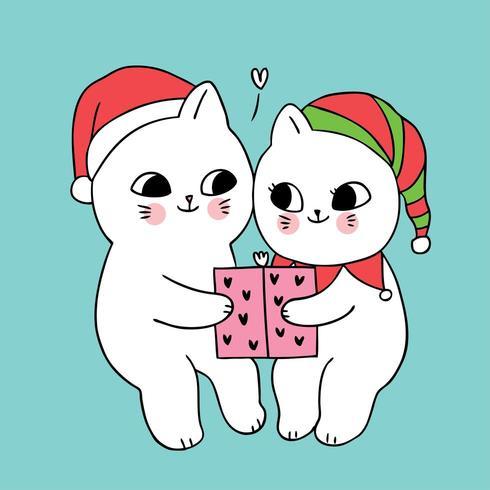 Presente e gatos de Natal casal