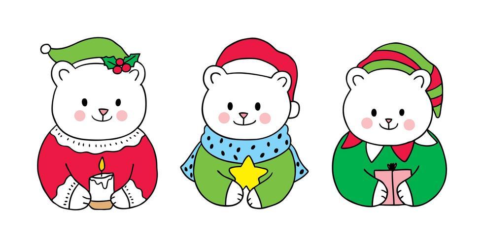 Dessin animé mignon Noël ours polaire
