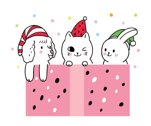 Desenhos animados bonitos Natal, cachorro e gato e coelho