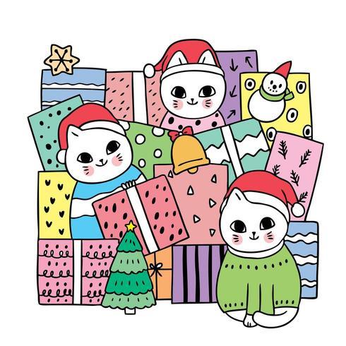 Tecknade söta julkatter och present