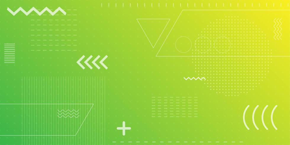 Bright neon green and yellow retro shapes background  vector